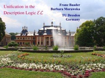 Unification in the Description Logic EL.