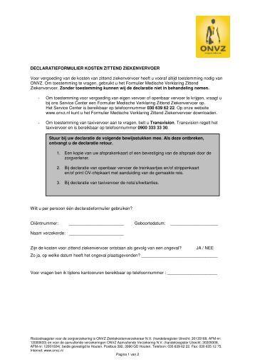 Declaratieformulier Reiskosten Zittend Ziekenvervoer 2013 ...