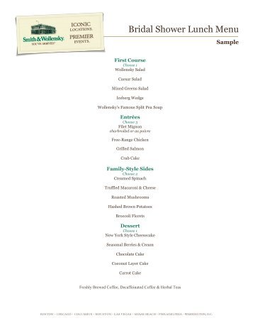 bridal shower lunch menu smith wollensky