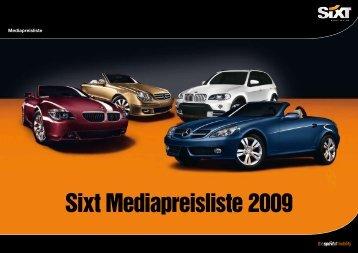 Sixt Mediapreisliste 2009 - Sixt AG