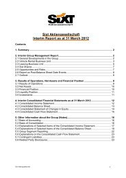 Sixt Aktiengesellschaft Interim Report as at 31 March 2012 - Sixt AG