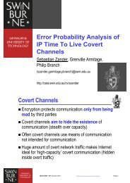 Error Probability Analysis of IP Time To Live Covert Channels ... - CAIA
