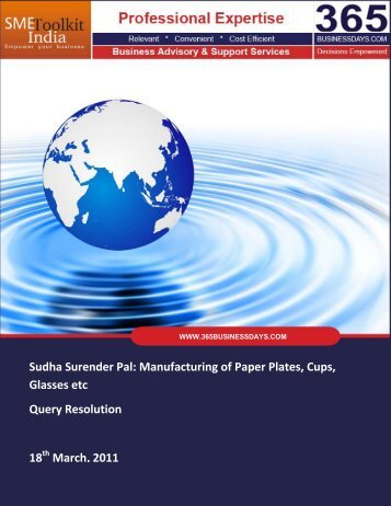 Manufacturing of Paper Plates, Cups - SME Toolkit India