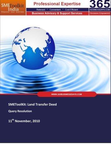 SMEToolKit: Land Transfer Deed 11 November ... - SME Toolkit India