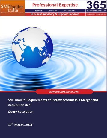 SMEToolKit: Requirements of Escrow account in ... - SME Toolkit India