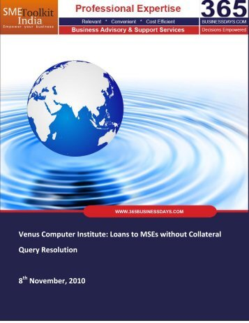 Loans to MSEs without Collateral - SME Toolkit India
