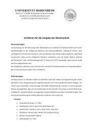 Vergabe von Masterarbeiten - Lehrstuhl für Bankwirtschaft ...
