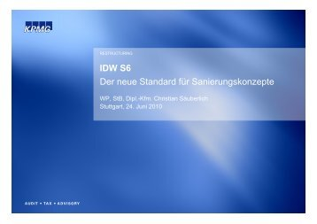 IDW S6 Der neue Standard für Sanierungskonzepte