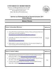 market pricing - Lehrstuhl für Bankwirtschaft - Universität Hohenheim