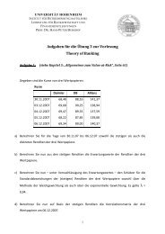 Übung 3 Aufgaben - Lehrstuhl für Bankwirtschaft - Universität ...