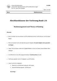 Klausur Lösung BankI-II SS08 - Lehrstuhl für Bankwirtschaft ...