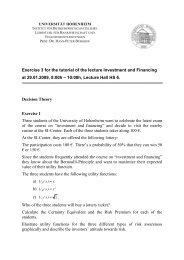 Exercises 3 - Lehrstuhl für Bankwirtschaft - Universität Hohenheim
