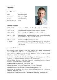 Lebenslauf - Lehrstuhl für Bankwirtschaft - Universität Hohenheim