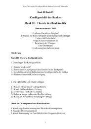 Kreditgeschäft Der Banken Bank III - Lehrstuhl für Bankwirtschaft ...