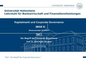 p - Lehrstuhl für Bankwirtschaft - Universität Hohenheim