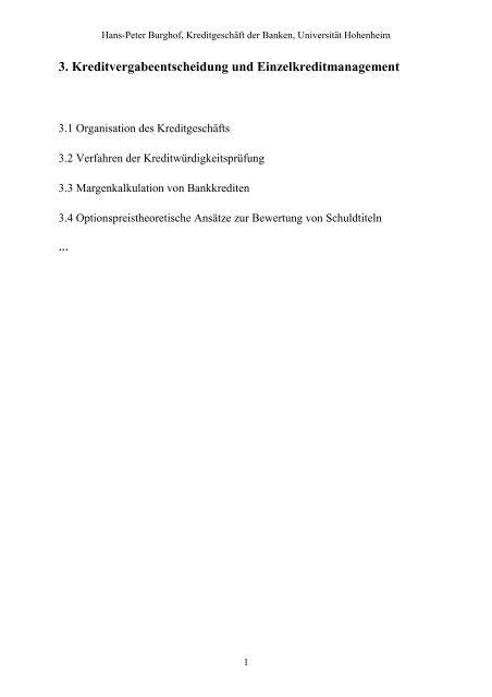 3.1 Organisation des Kreditgeschäfts - Universität Hohenheim