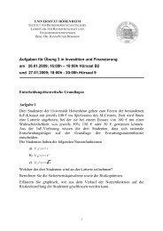 Übungsblatt 3 - Lehrstuhl für Bankwirtschaft - Universität Hohenheim