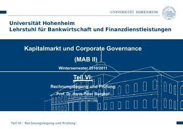 Prüfung - Lehrstuhl für Bankwirtschaft - Universität Hohenheim