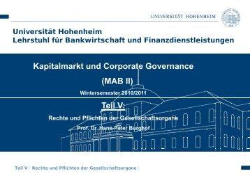 g - Lehrstuhl für Bankwirtschaft - Universität Hohenheim