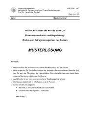 T - Lehrstuhl für Bankwirtschaft - Universität Hohenheim