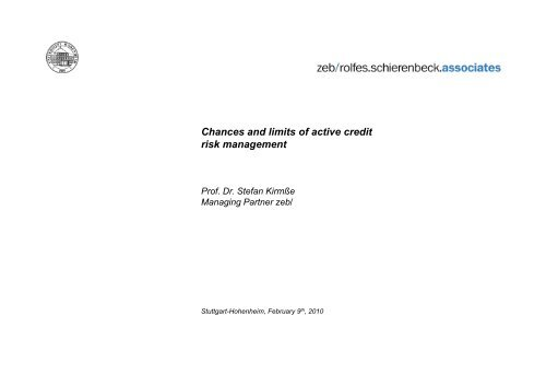 Chances and limits of active credit risk management