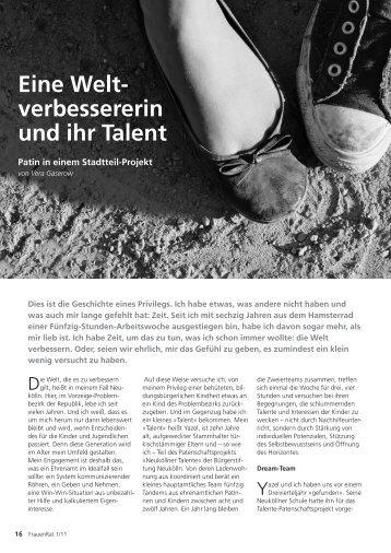 Eine Welt- verbessererin und ihr Talent - Neukoellner Talente