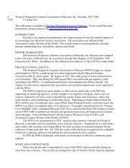 Women's Progressive Farmers Association of Missouri, Inc., Records ...