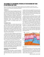 The Feasibility of Geothermal Potential in the Rio Grande Rift Area ...