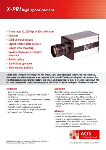 X-PRIhigh-speed camera - AOS Technologies AG