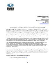 press release - Solid Waste Association of North America