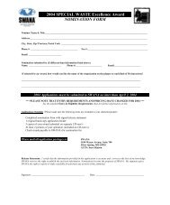 2004 SPECIAL WASTE Excellence Award NOMINATION FORM