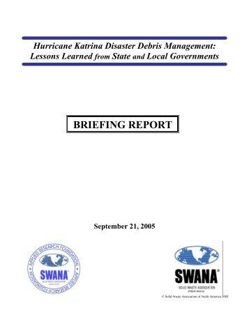Hurricane Katrina Disaster Debris Management Report - 9-22-05 ...