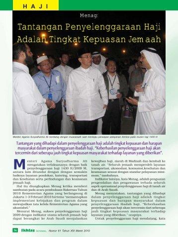 Tantangan Penyelenggaraan Haji Adalah Tingkat Kepuasan Jemaah