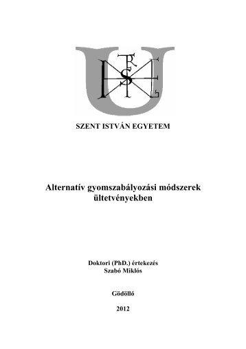 Szabó Miklós értekezés - Szent István Egyetem