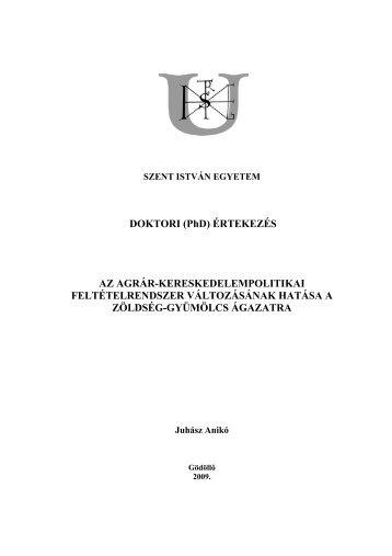 DOKTORI (PhD) ÉRTEKEZÉS AZ AGRÁR ... - Szent István Egyetem