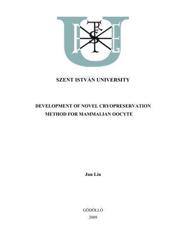 The thesis - Szent István Egyetem