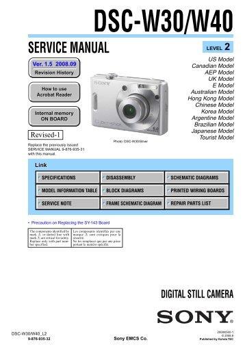 Service Manual of Sony DSC-W30/W40 Digital Camera - SONYRUS