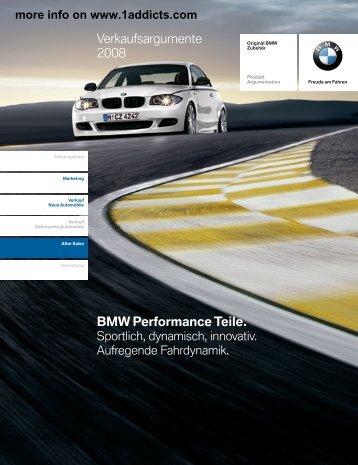 BMW Performance Teile. Verkaufsargumente 2008