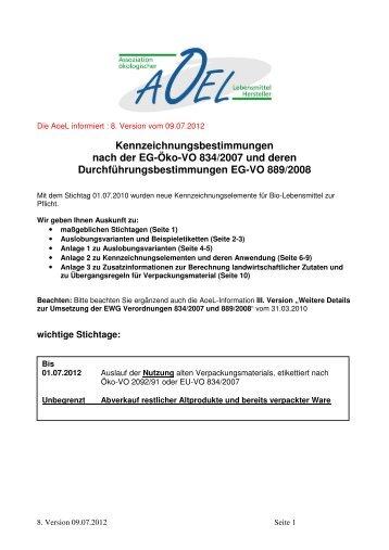 Kennzeichnungsbestimmungen nach der EG-Öko-VO 834/2007 und ...