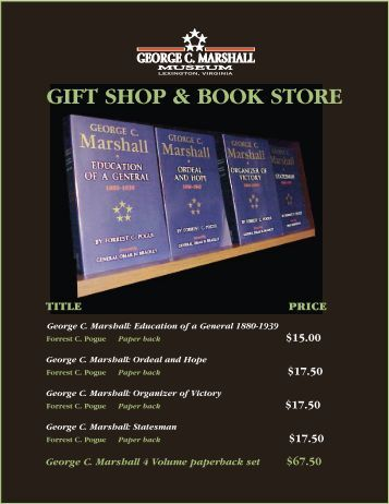 GIFT SHOP & BOOK STORE - The George C. Marshall Foundation