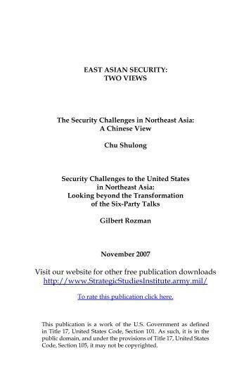 East Asian Security: Two Views - Strategic Studies Institute - U.S. Army