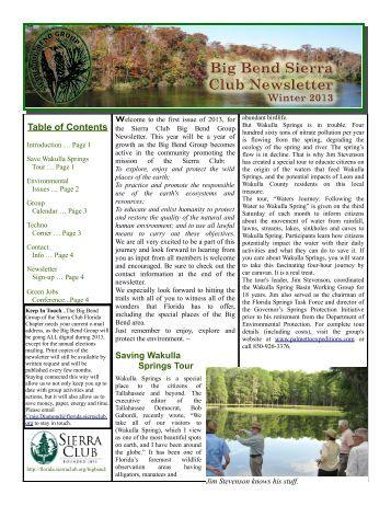 Jan/Feb/March 2013 Vol. 1 Newsletter - Sierra Club Florida