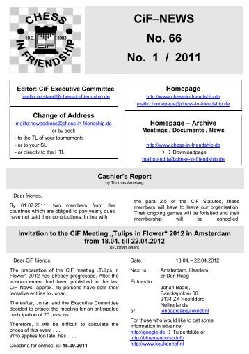CiF–NEWS No. 66 No. 1 / 2011 - Chess in Friendship