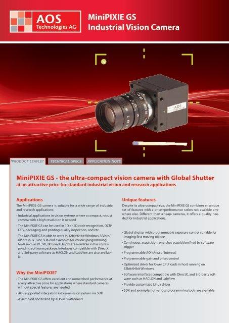 MiniPIXIE GS Industrial Vision Camera - AOS Technologies AG