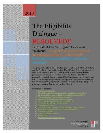 Elegibility Dialogue - West Valley College