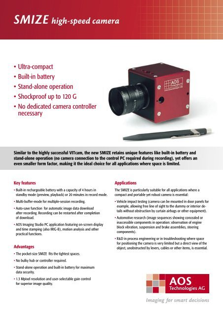 SMIZE high-speed camera - AOS Technologies AG