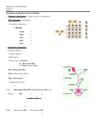 Biology 10 - General Biology Lecture 17 Genetics Exceptions to ...