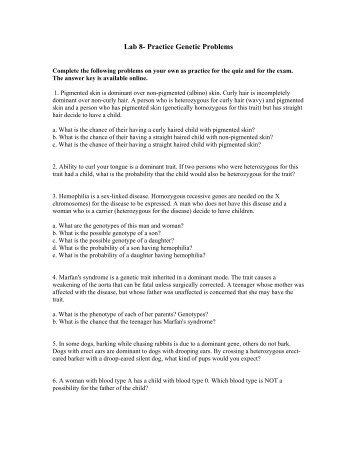 Genetics Practice Problems – Simple(er) Worksheet - Fulton ...