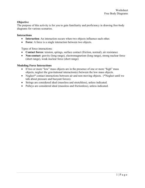 Worksheet Free Body Diagrams 1 Page Objective The Purpose Of