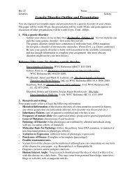 Genetic Disorder Outline and Presentation